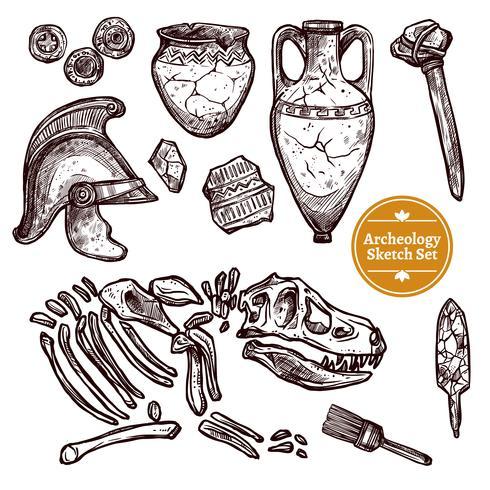 Archeology Hand Drawn Sketch Set.
