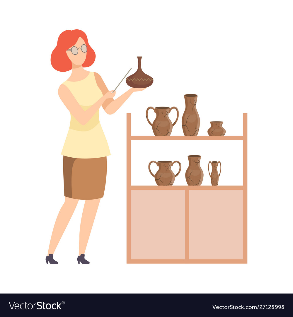 Scientist archaeologist examining ancient vessels.