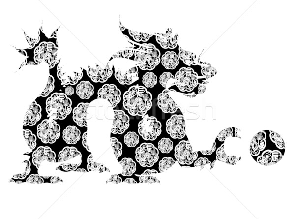 Chinese Dragon Sitting Archaic Motif Black and White Clip Art.