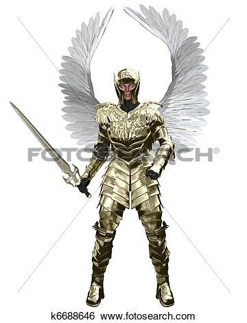 Stock Illustration of Archangel Michael in Golden Armour k6688646.