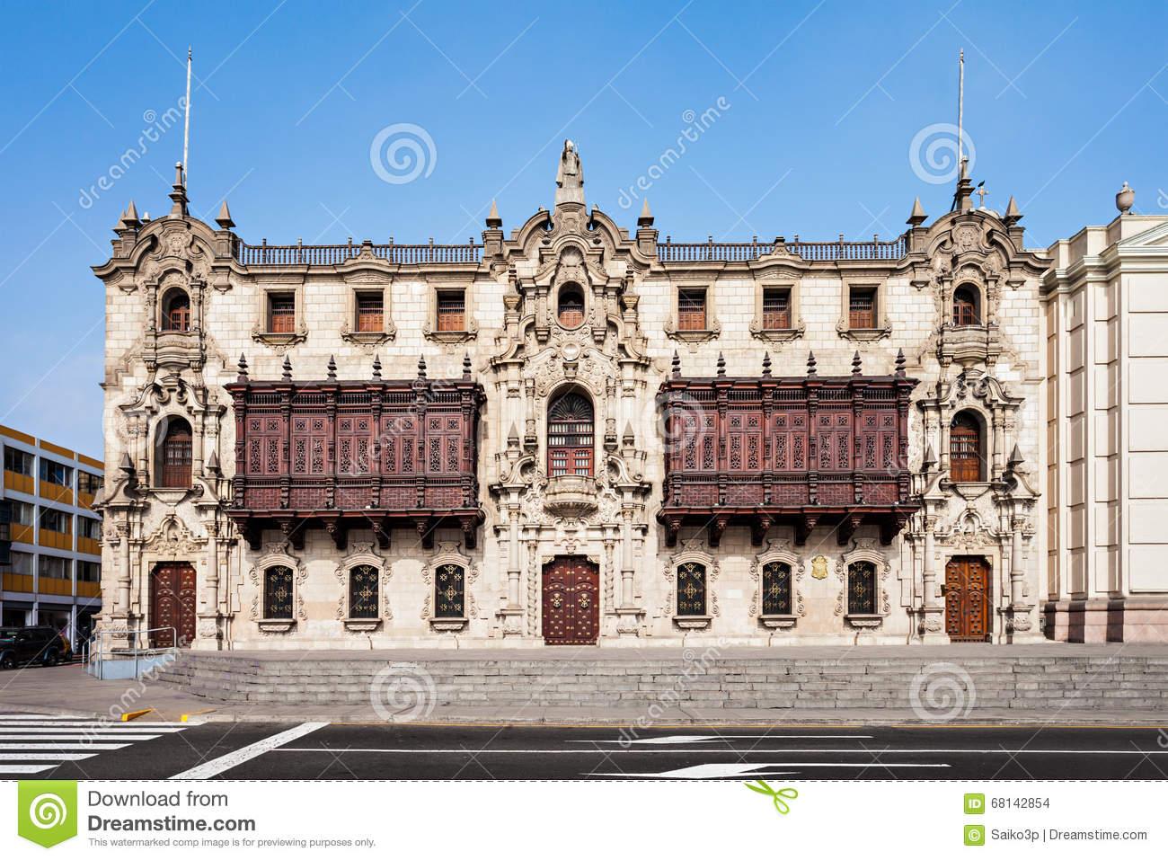 Archbishop Palace, Lima Stock Photo.