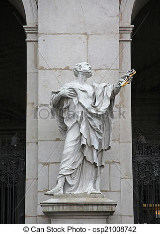 Stock Photo of St. Peter statue at Salzburg Cathedral, Austria.