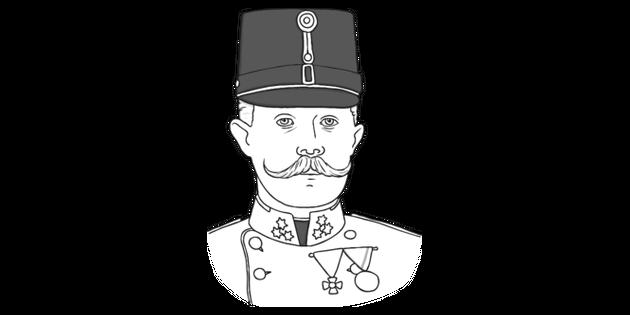 Archduke Franz Ferdinand Black and White Illustration.