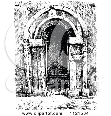 Clipart Of A Retro Vintage Black And White Arched Church Doorway.