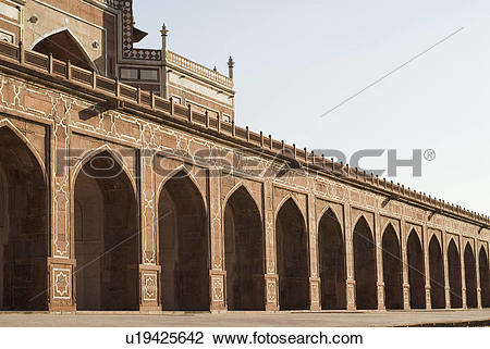 Stock Photo of Arched wall inside a monument, Humayun Tomb, New.