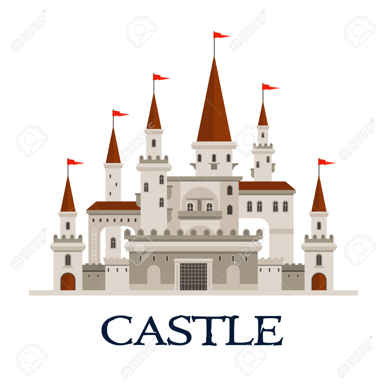 Gothic Castle Fortress Icon With Arcade Palace With Arched Windows.