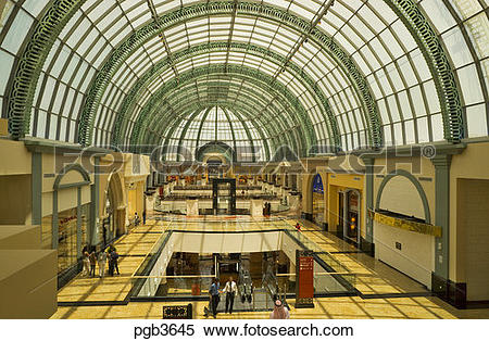 Stock Image of Arcade with classical arched glass roof at the Mall.