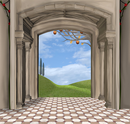 Wall With Arched Entrance Clip Art, Vector Images & Illustrations.