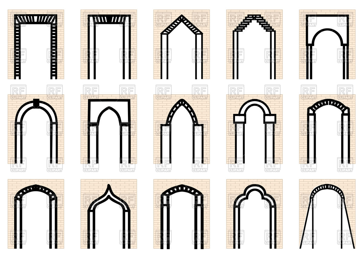Set of arches and brick wall Vector Image #77567.