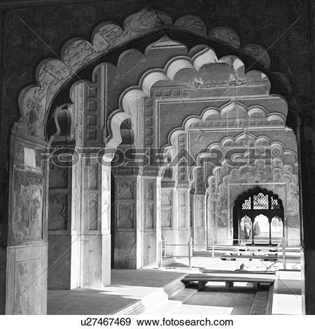 Stock Photograph of Arched corridor inside a fort, Red Fort, New.