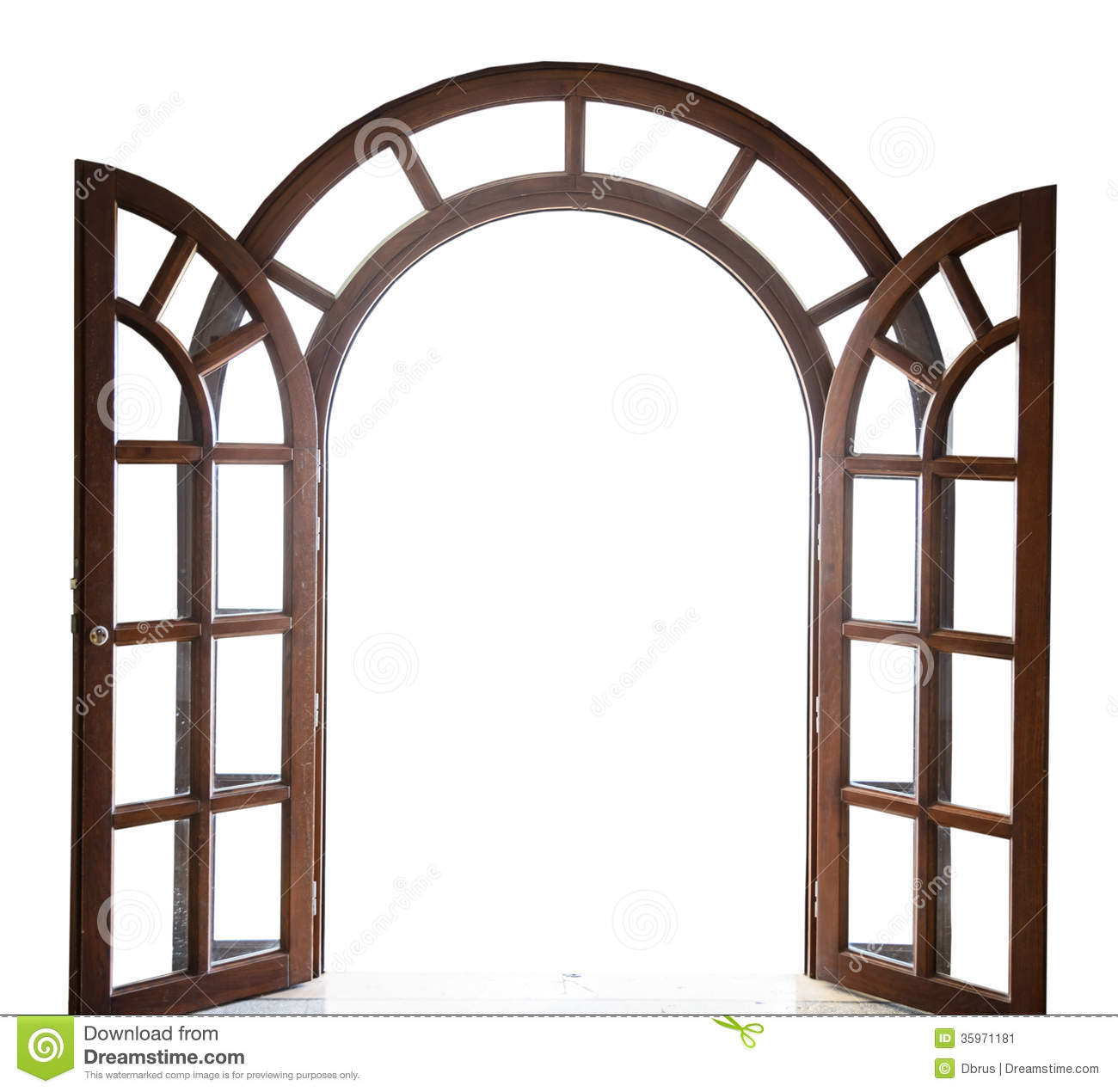Open arched wooden door on a white background stock image image.
