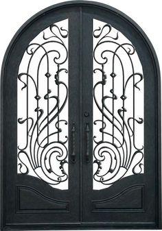 Double Arched Wrought Iron Door with Fancy Features #door #doors.