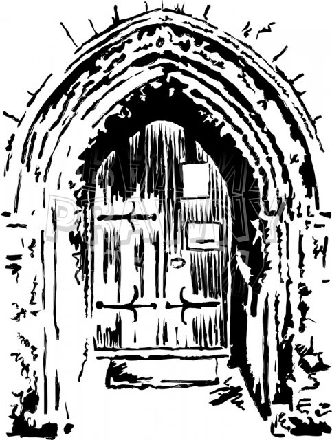 Arched Church Door Clip Art Illustration.