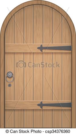 Clip Art Vector of old wooden arch door.