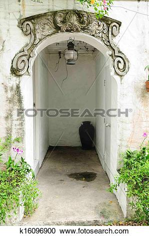 Stock Photography of Classic arched entrance, vintage style.