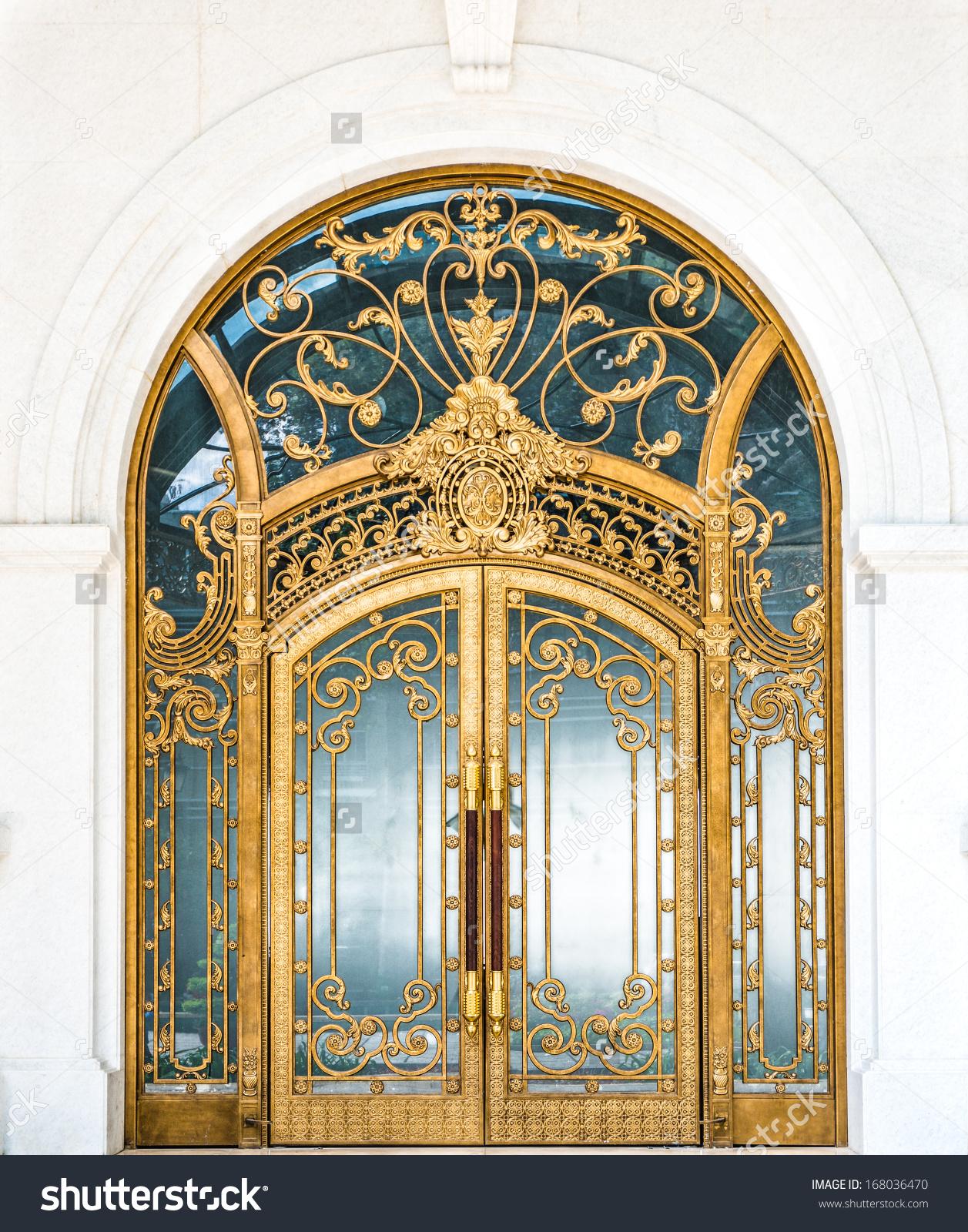 Beautiful Arched Doorway Door Made Wood Stock Photo 168036470.