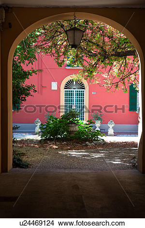 Stock Photo of Arched entrance of Renaissance palazzo with painted.