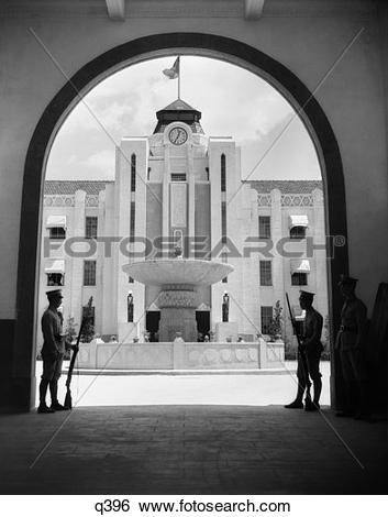 Stock Images of 1930 1930S Chinese Military Guards At Arched.