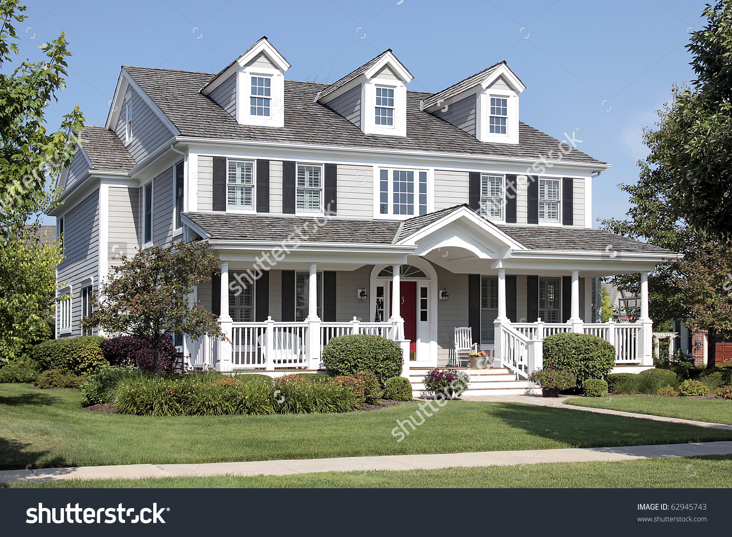 Large Suburban Home Front Porch Arched Stock Photo 62945743.