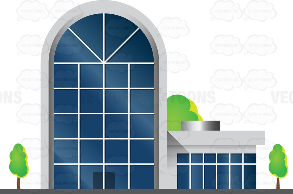 Arched Building With Glass Facade Cartoon Clipart.