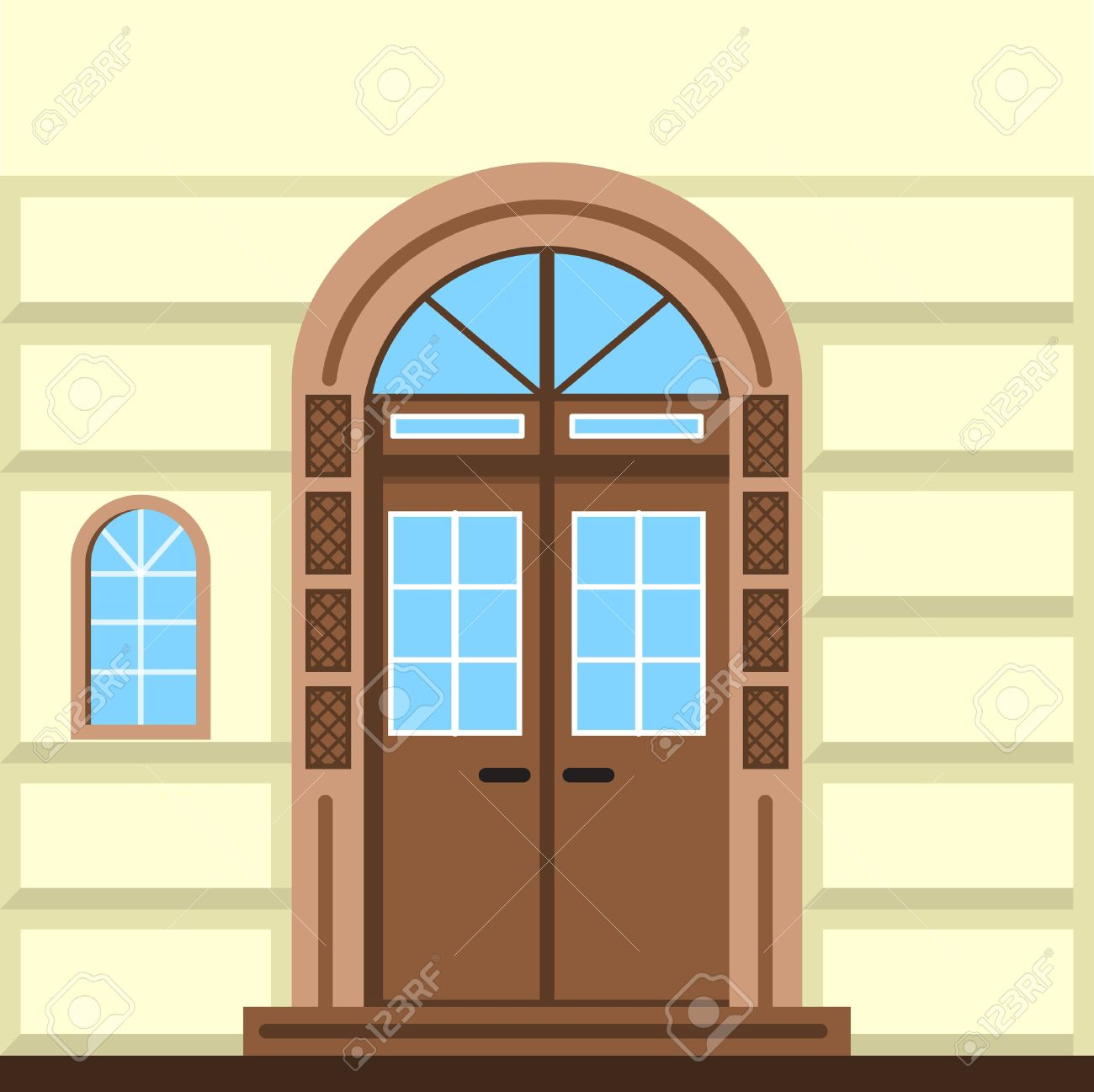 Flat Color Vector Illustration Of Brown Facade Door With Arch.