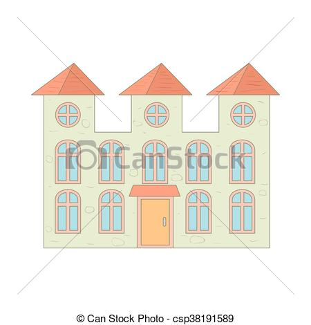 Vector of Two storey house with arched windows icon in cartoon.