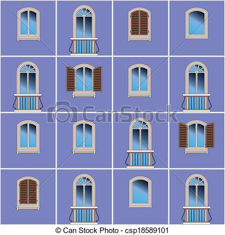 Vector Clipart of Classic building facade.