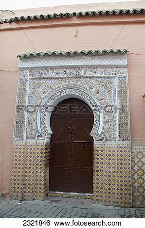 Stock Images of A Horseshoe Shaped Door With Ornate Facade On The.