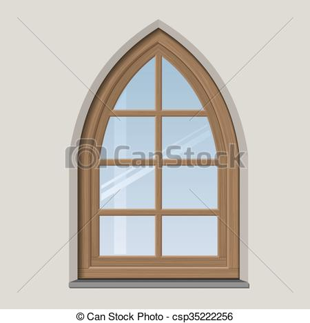 Clipart Vector of Arched wooden window with muntin bars in vector.