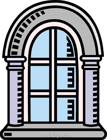 arched window Royalty Free Vector Clip Art illustration.