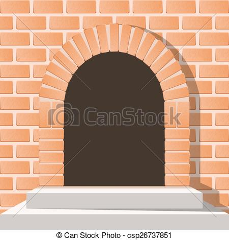 Clipart Vector of Arched medieval door in a brick wall with stairs.