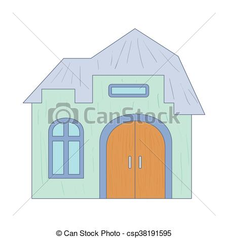 EPS Vectors of Light blue cottage with an arched door icon in.