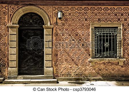 Stock Image of Arched door and window.