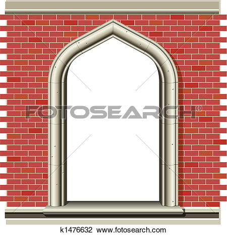 Clipart of Arched window, bricks k1476632.