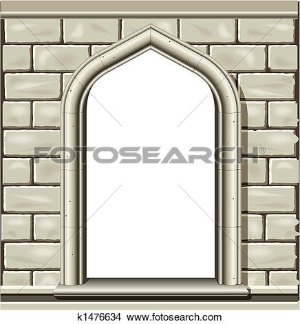 Clipart of Arched window, stone k1476634.