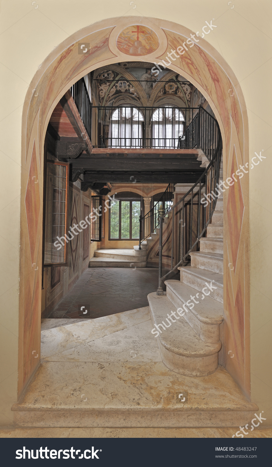 Classic Italian Arched Doorway, Marble Staircase And Decorative.