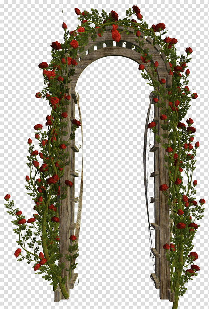 Various Garden Items , arch door with red roses transparent.