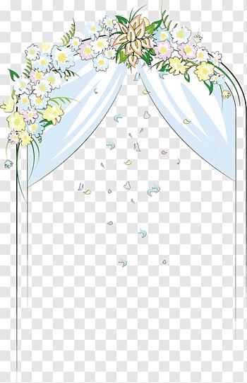 White and green curtain illustration, Flower Door Wedding.