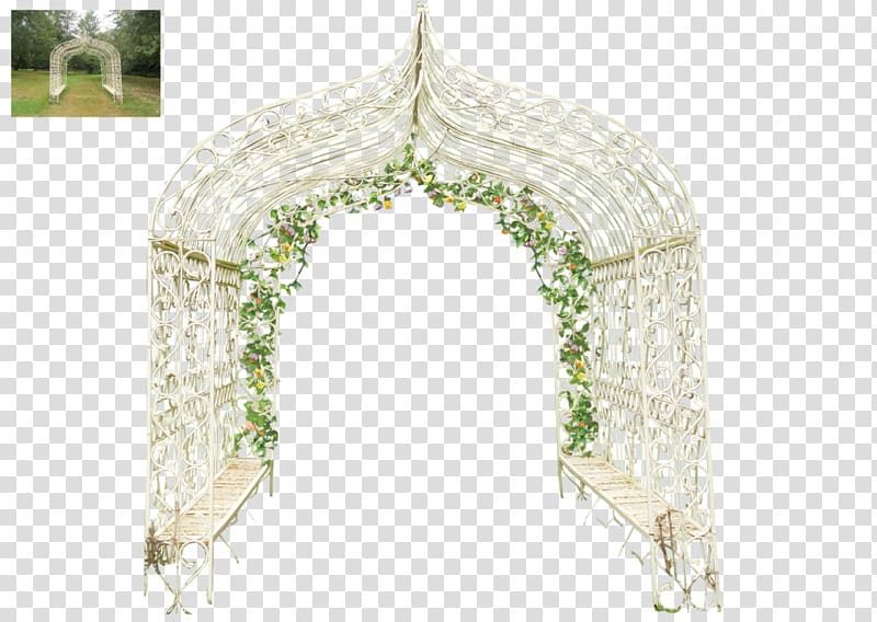 White metal scrolled gazebo, Arch Wedding , Flower arch door.