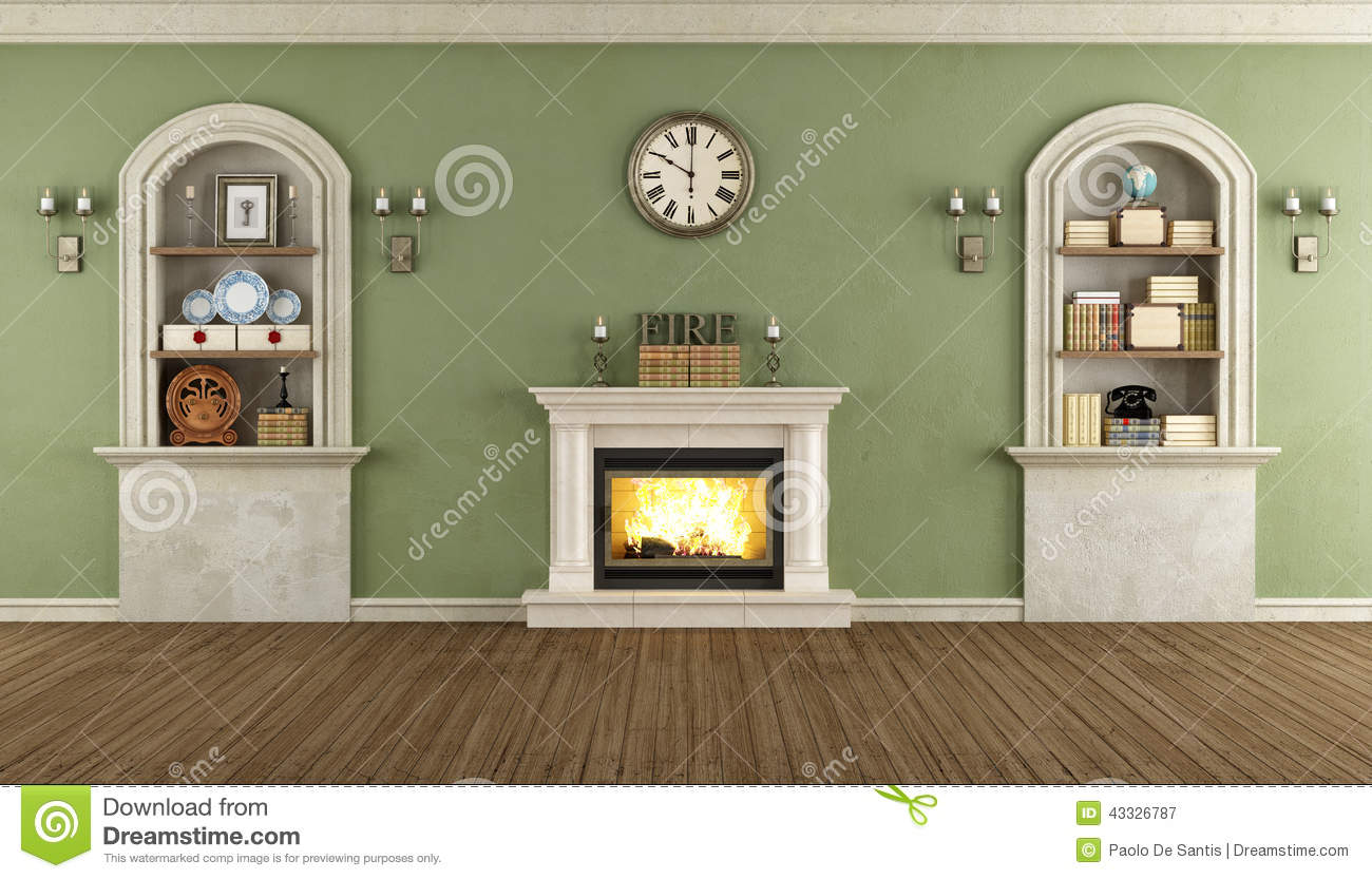 Vintage Room With Arched Niche Stock Illustration.