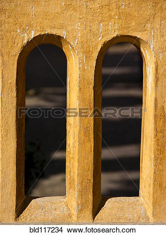 Stock Photo of Arched Window Openings bld117234.