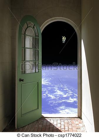 Clip Art of Space Walk through Arched Doorway.