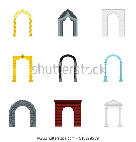 Arched Openings Icons Set Flat Illustration Stock Vector 515279578.