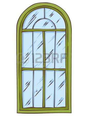 Clipart arched window frame with flower box.