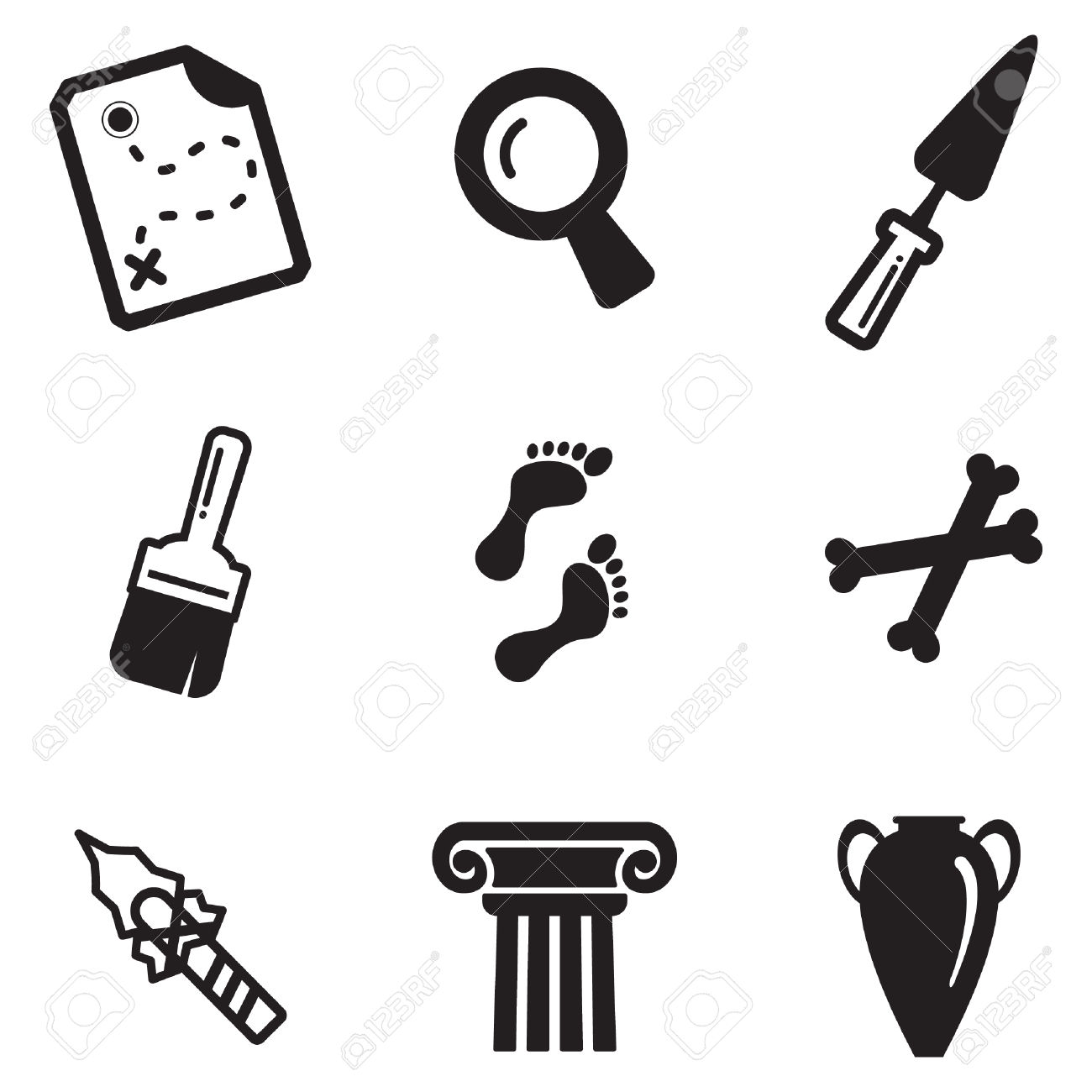 Archeology Icons Royalty Free Cliparts, Vectors, And Stock.