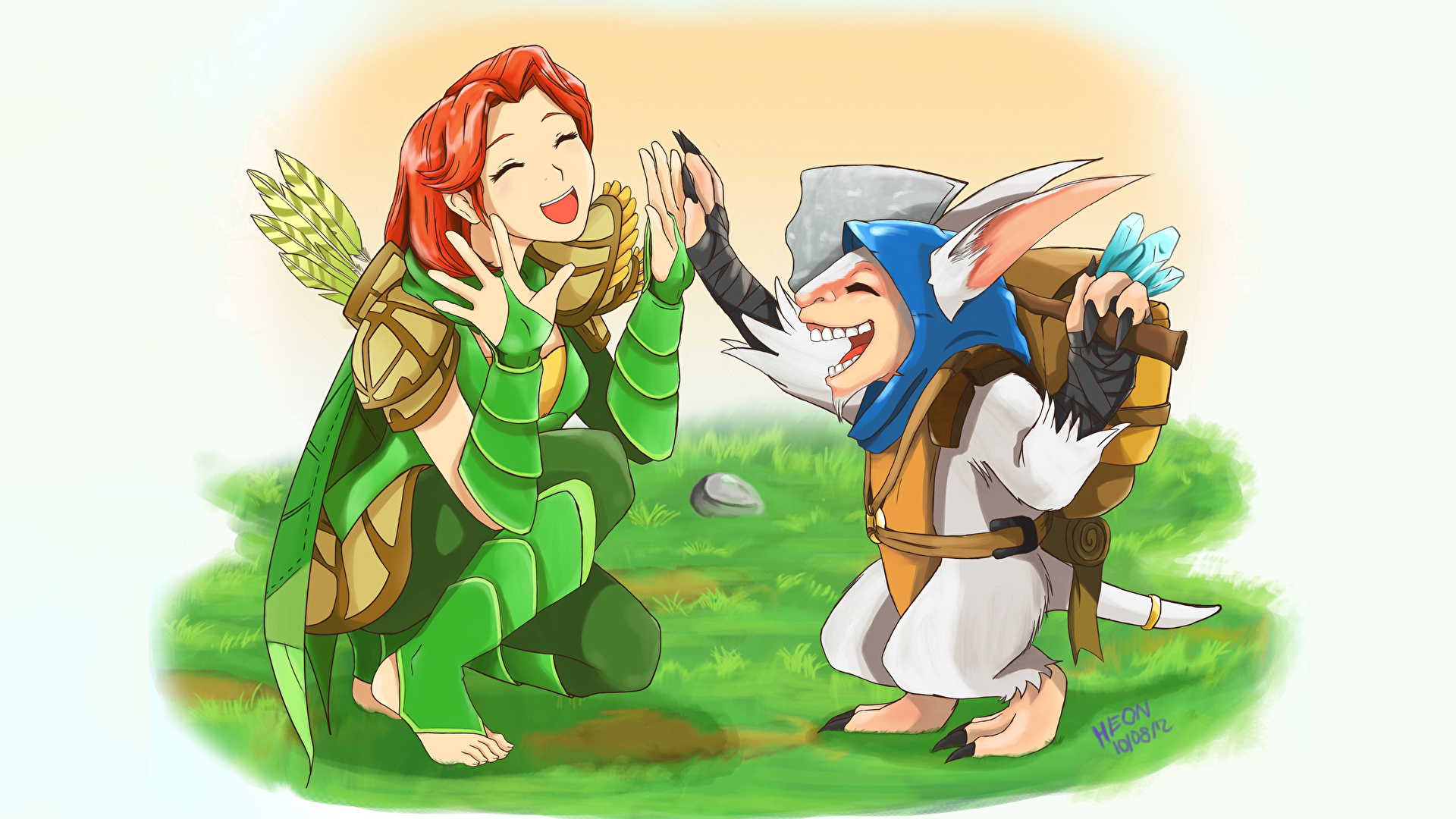Photos DOTA 2 Meepo Windrunner Archers Elves Girls Fantasy 1920x1080.