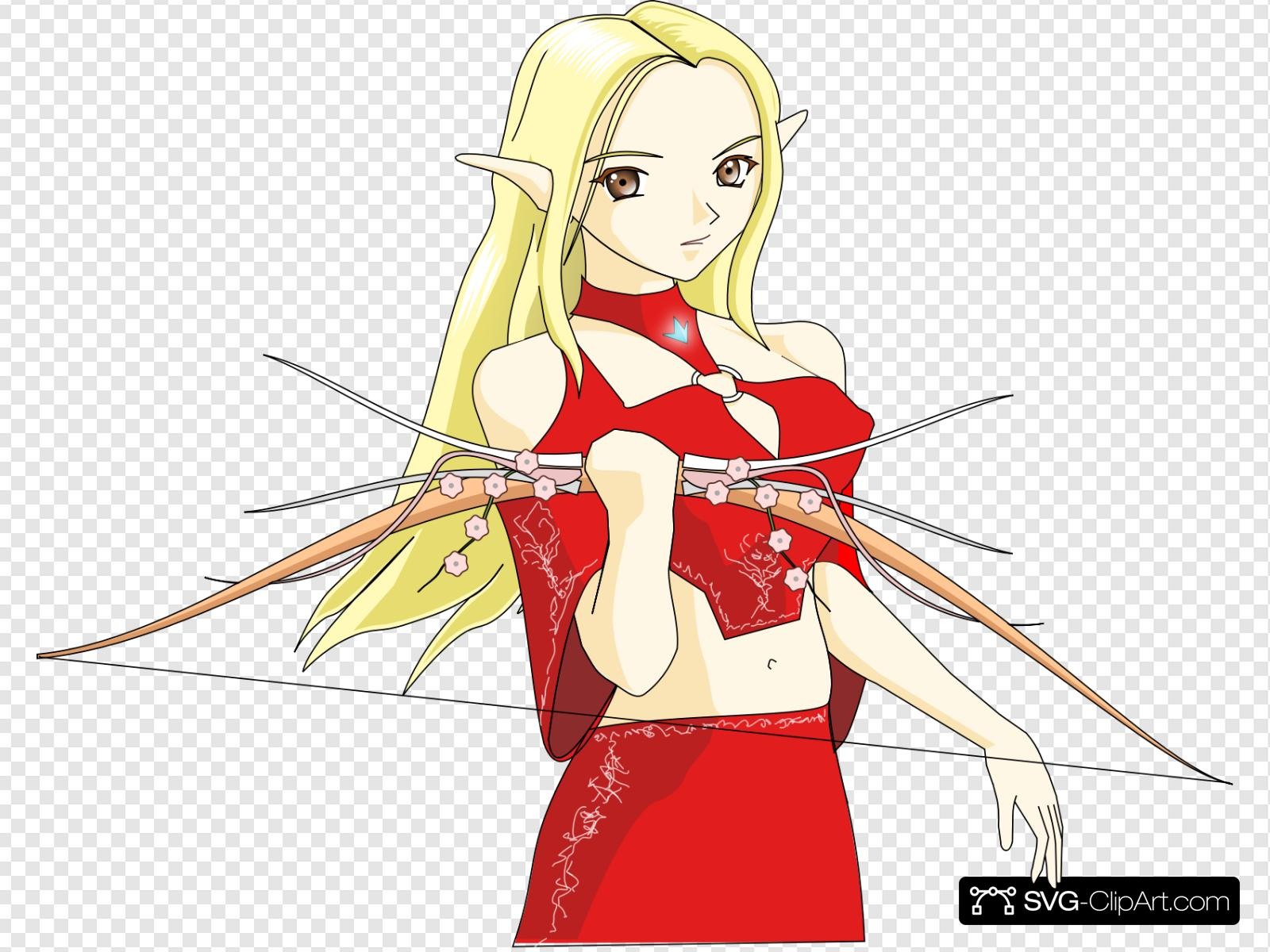 Anime Elf Archer Clip art, Icon and SVG.