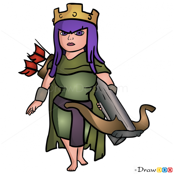 How to Draw Archer Queen, Clash of Clans.