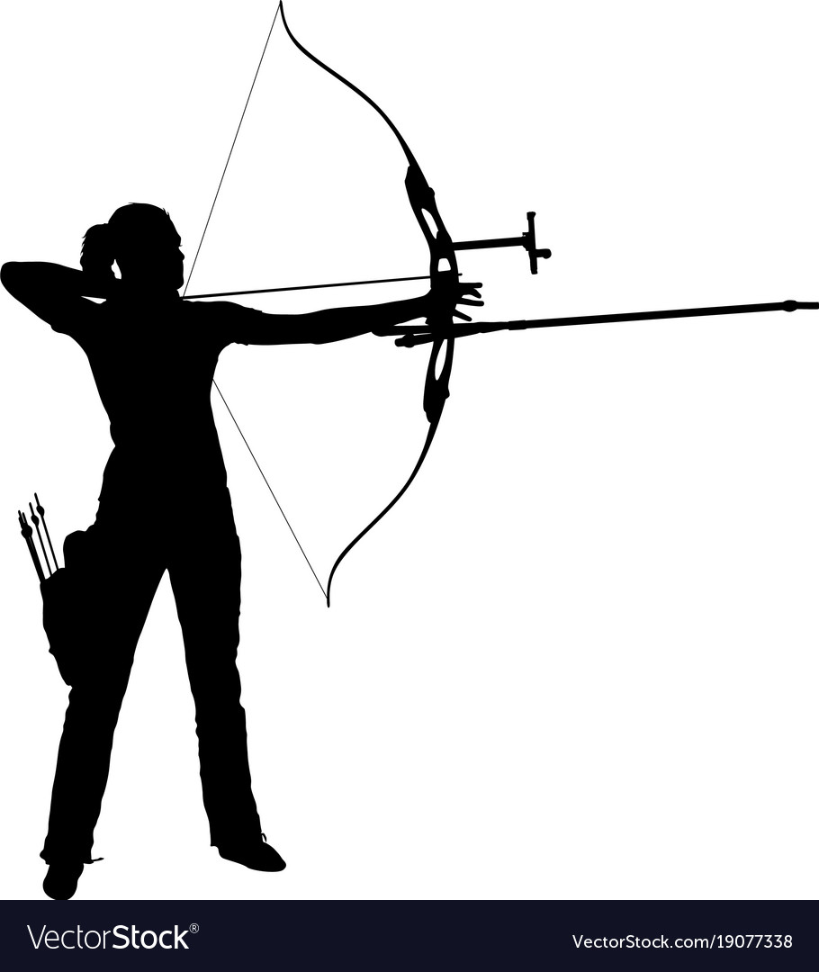 Silhouette attractive female archer bending a bow.