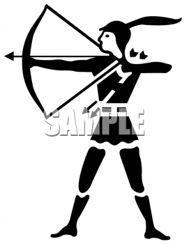 Clipart of an Archer Pulling Back the String of a Bow.